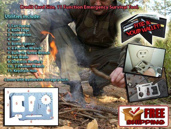 11-in-1 MultiFunction Tool Mini Pocket Card Survival Tool