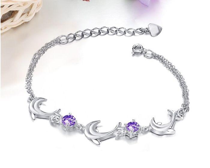 Graceful Cute Style Multi-Layered Dolphin Shape Crystal Embellished Bracelet For Women