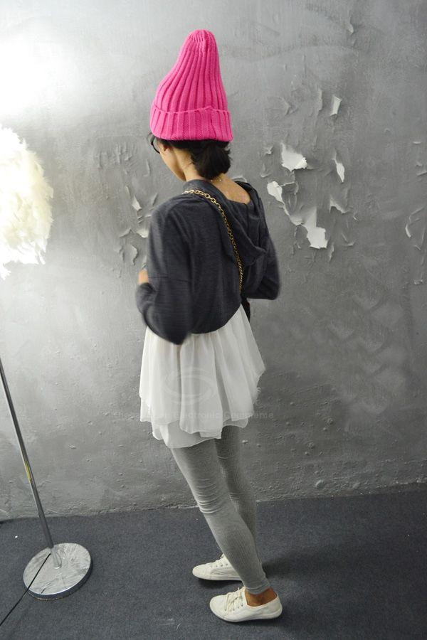 Sweet Hooded Chiffon Splice High Waist Long Sleeve Color Block Women's Dress
