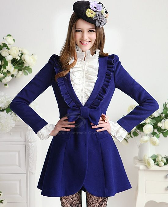 Elegant Ladylike Style V-Neck Bowknot Embellished Flouncy and Waisted Design Women's Coat