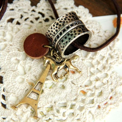 Retro Style Ring Tower and Horse Shape Pendant Embellished Sweater Chain For Women