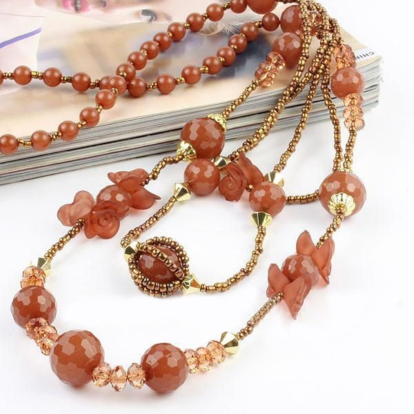 Sweet Style Muti-layered Rose and Rhinstone Decorated Muti-layered Beads Women's Sweater Chain