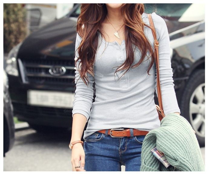 Slimming Solid Color and Long Sleeve Round Neck Design Women's Cotton T-Shirt