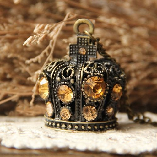 Retro Hot Sale Style Imperial Crown Shape Rhinestone and Cross Embellished Women's Alloy Sweater Chain