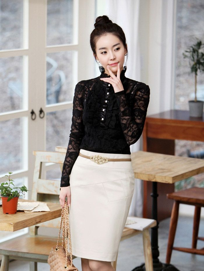 Elegant High Neck Ruffle Hem Solid Color Long Sleeve Slimming Lace Women's Blouse With Camisole