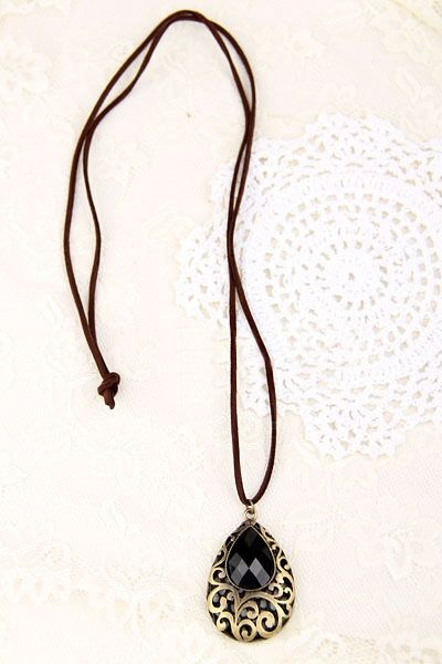Exquisite Ethnic Style Openwork Crystal Inlaid Carved Flower Pattern Pendant Sweater Chain For Women