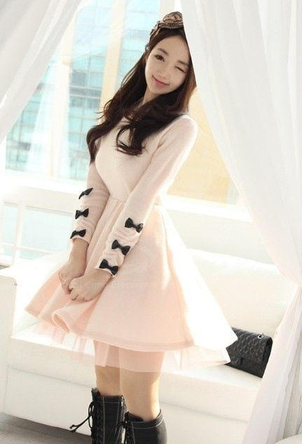 Sweet Style Scoop Neck Bowknot Embellished Voile Hem Long Sleeve Knitting Women's Dress
