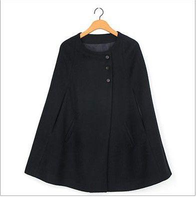 Vintage Style Scoop Neck Sleeveless Slant Cut Three Buttons Woolen Blend Women's Cloak