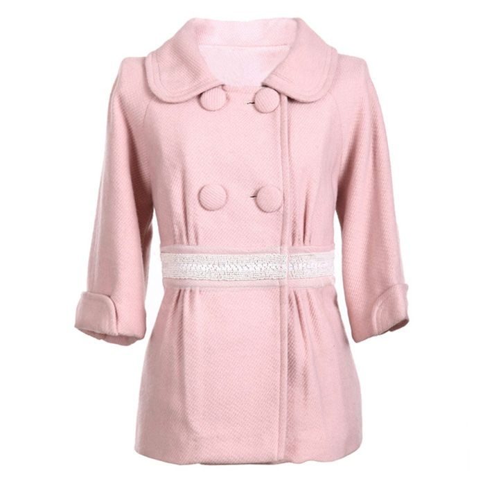 Sweet Polo Neck Double Breasted 3/4 Sleeves Solid Color Fitted Woolen Blend Women's Coat
