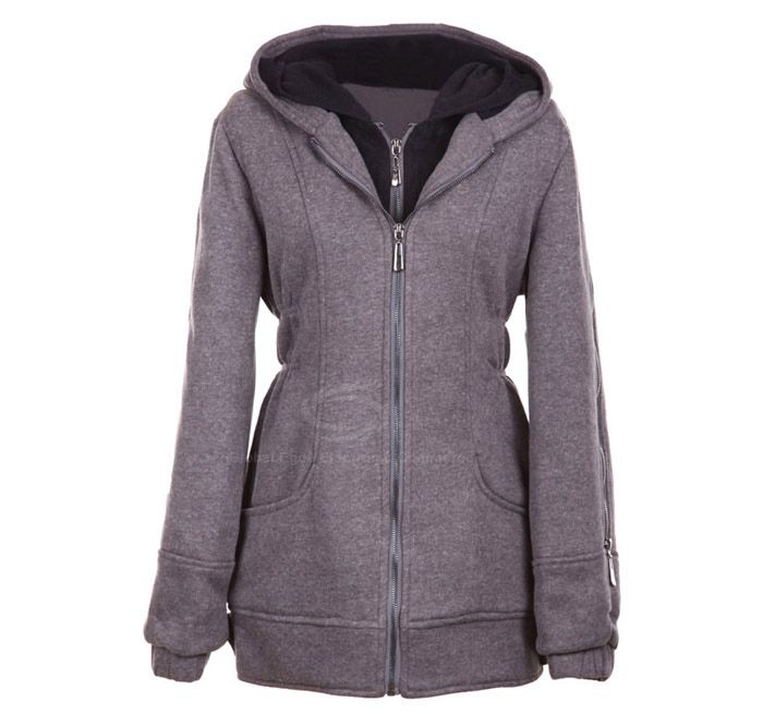 Casual Hooded Double Collar Long Sleeves Solid Color Warm And Thicken Cotton Blend Women's Coat