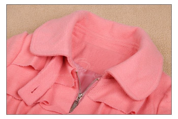 Charming Turndown Collar Flouncing Zipper Puff Sleeve Women's Coat