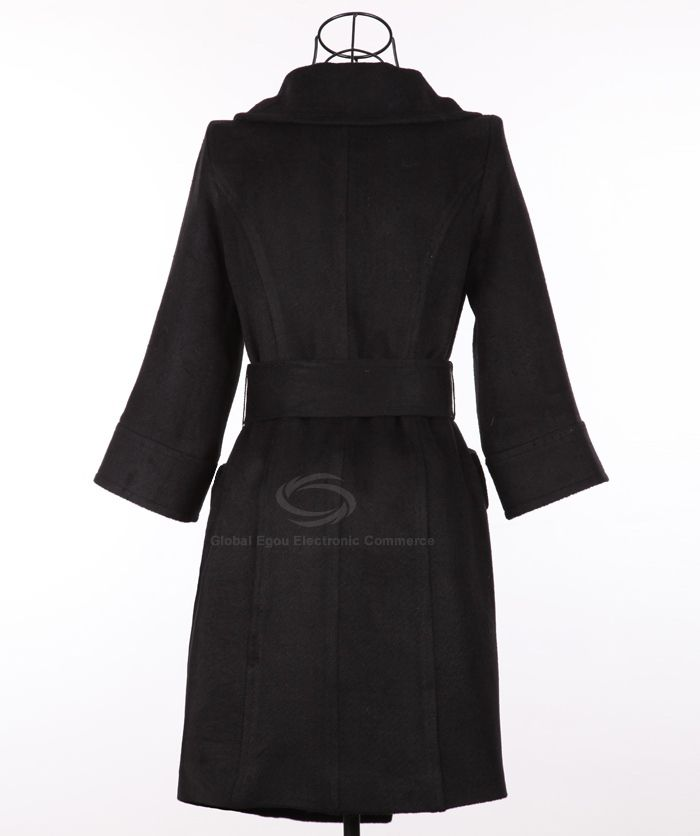 Stylish Polo Neck Long Sleeves Solid Color Belt Design Buttonless Woolen Blend Women's Coat