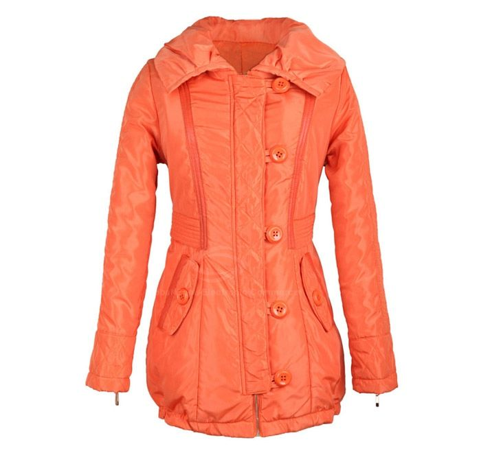 Slim Fit Zip Decorated Lace Up Long Sleeves Hooded Women's Coat
