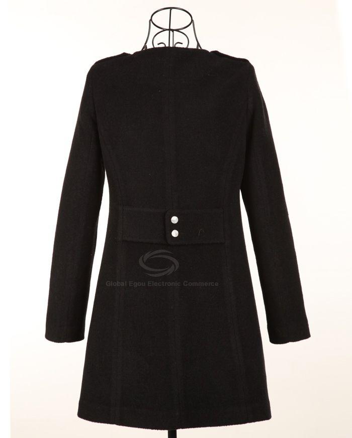 Army Uniform Style Scoop Neck Long Sleeves Multi Pockets Single Breasted Woolen Blend Women's Coat