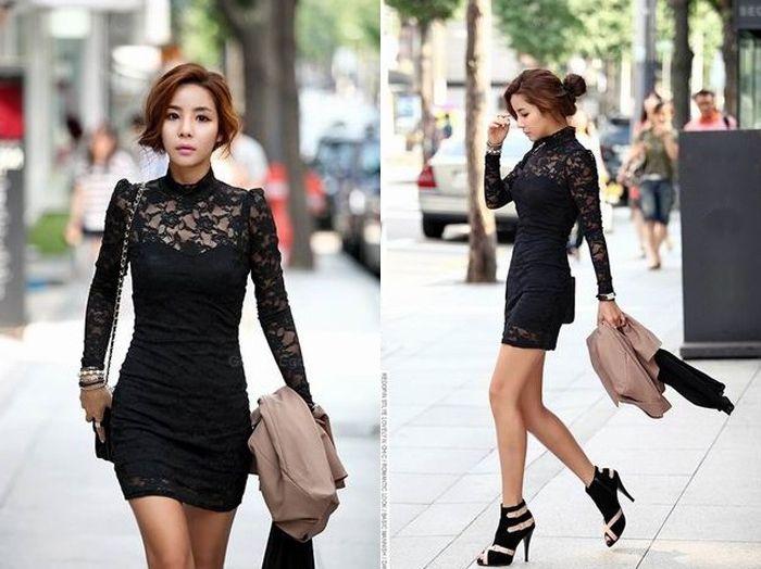 Slimming High Neck Ladylike Puff Sleeve Black Lace Women's Dress