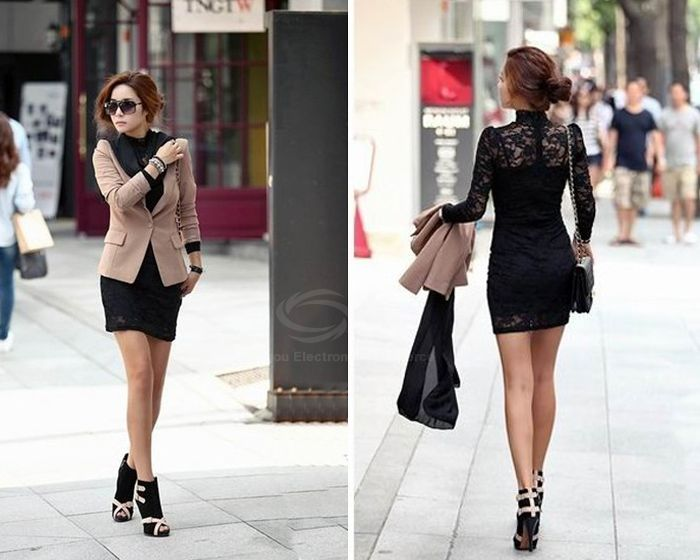 Slimming High Neck Ladylike Puff Sleeve Black Lace Women's Dress