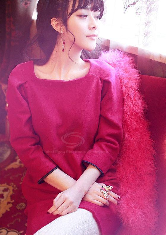 Ladylike Scoop Neck 3/4 Sleeves Solid Color Puff Cuff Woolen Blend Women's Dress