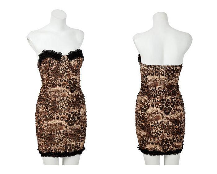 Gorgeous Lace Hem Sweetheart Neckline Strapless Leopard Women's Club Dress