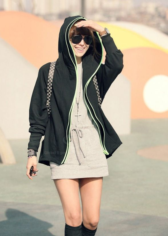 Outdoor Double Zipper Batwing Long Sleeves Fleece Plus Size Women's Hoodie
