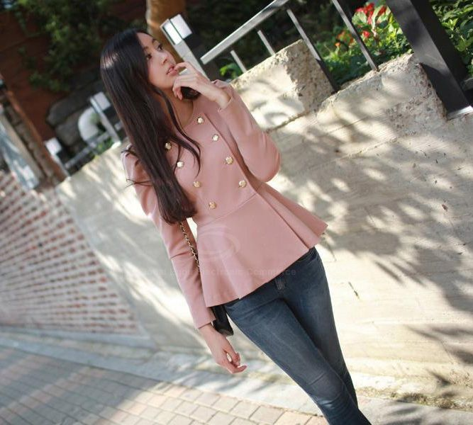 Modern Style Scoop Neck Flouncing Hem Double Breasted Puff Sleeve Cotton Blend Women's Coat