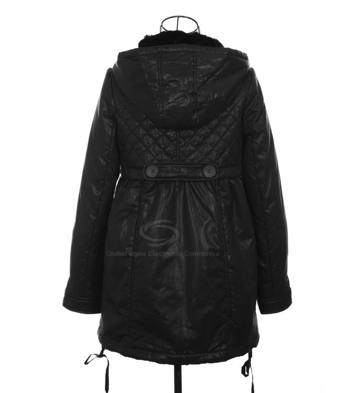 Modern Style Scoop Neck Dismountable Hooded Long Sleeve Thin Cotton Padded Women's Coat