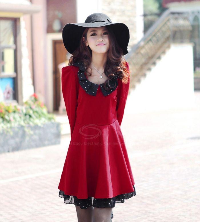 Charming Peter Pan Collar Polka Dot Print Imitation Silk Splice Long Sleeve Flounce Hem  Plus Size Women's Dress