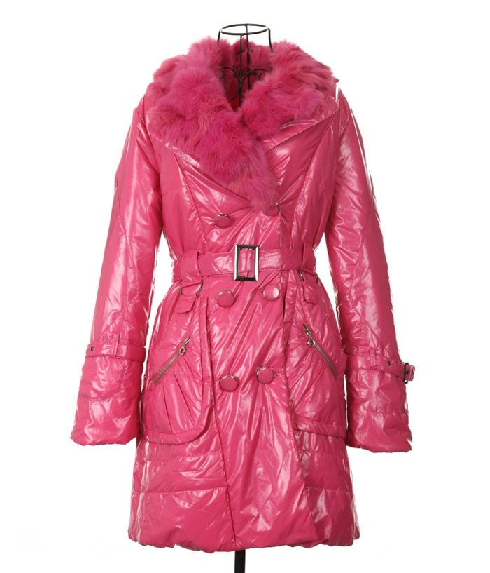 Modern Style Fur Lapel Red Color Long Sleeve Cotton Padded Women's Coat