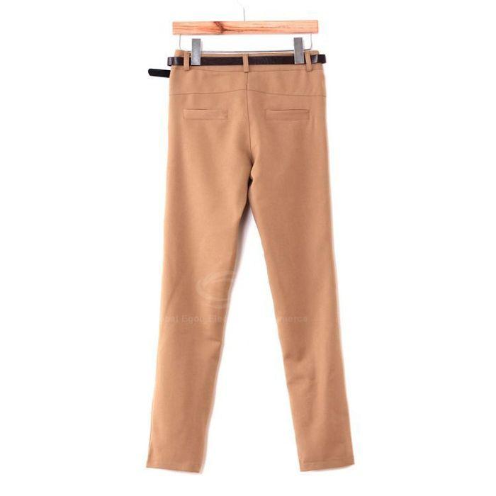 Casual Solid Color Ruffle Waist Good Cut All-Match Cotton Blend Women's Harem Pants
