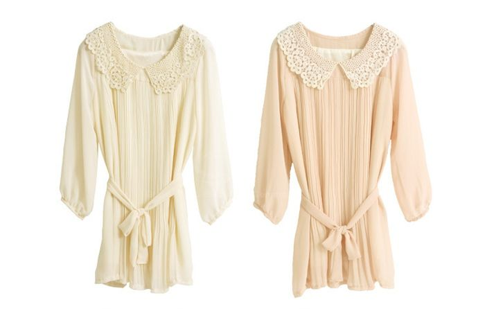 Charming Polo Neck Solid Color Ruffle Splicing Design 3/4 Sleeve Chiffon Women's Dress