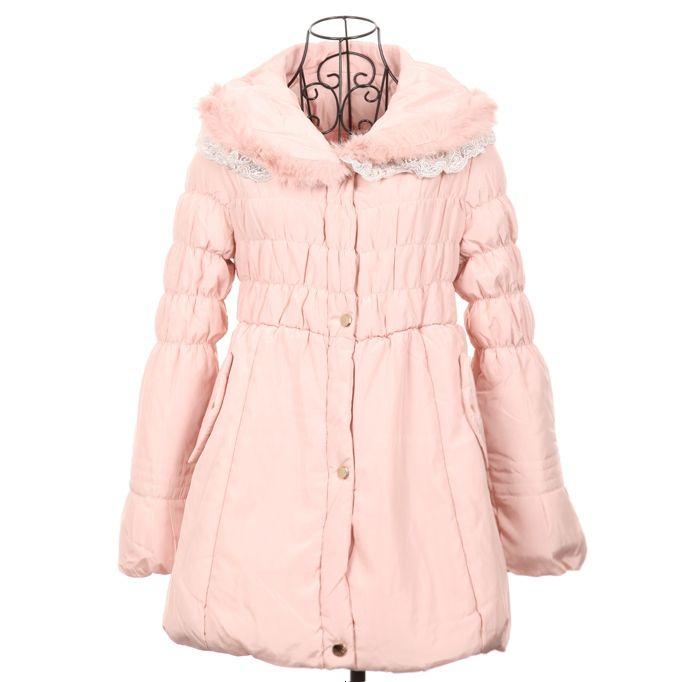 Lace Splicing Turndown Collar Ruffle Slim Fit Women's Wadded Coat