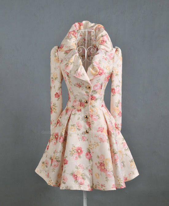 Elegant Style Lapel Rose Jacquard Weave Big Hem Long Sleeve Cotton Women's Coat
