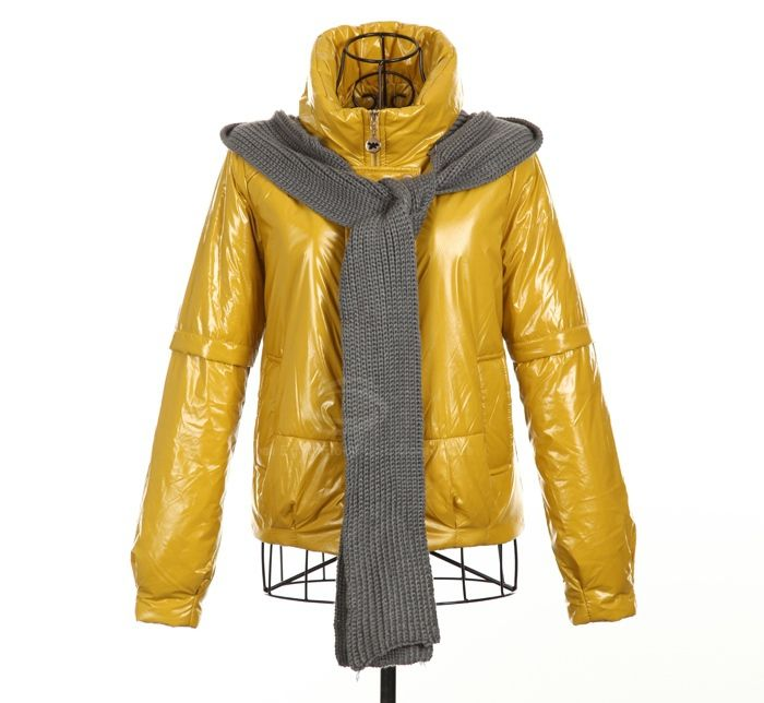 Modern Style High Collar Hooded Scarf Design Long Sleeve Cotton Padded Women's Coat