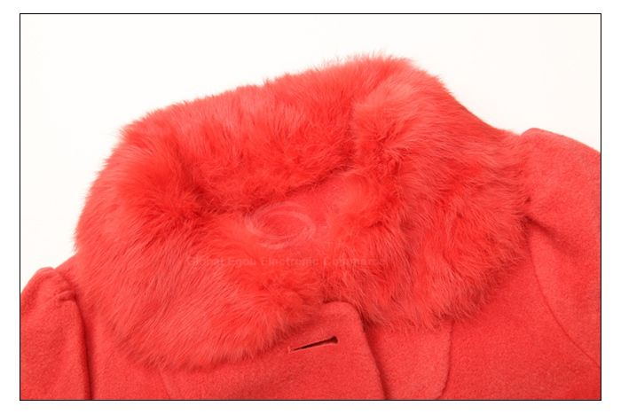Modern Style Fur Lapel Pocket Design Long Sleeve Worsted Women's Coat