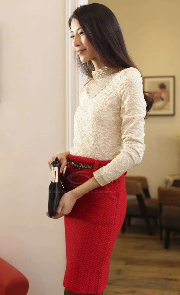 Elegant Stand Neck Long Sleeves Transparent Mesh Splicing Lace Covered Cotton Blend Women's T-Shirt