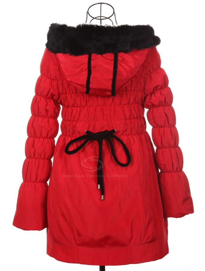 Modern Style Scoop Neck Hooded With Plush Long Sleeve Cotton Padded Women's Coat