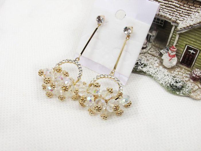 Sweet Elegant Style Rhinestone Embellished Flower Basket Shape Women's Earrings