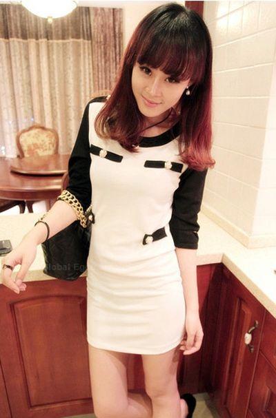 Slimming Scoop Neck Blocking Color Bead Embellished Short Sleeves Cotton Blend Women's Dress