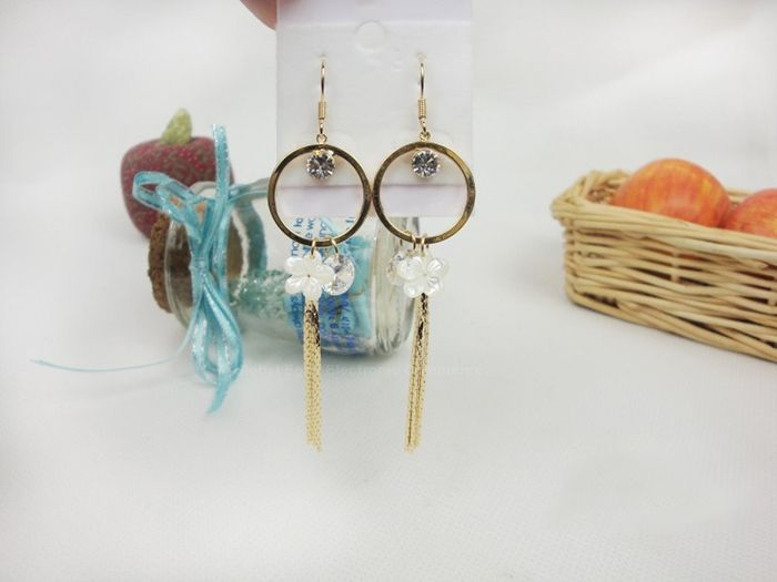 Pair of Exquisite Sweet Style Rhinestone Decorated Tassel Flower Shape Women's Earrings