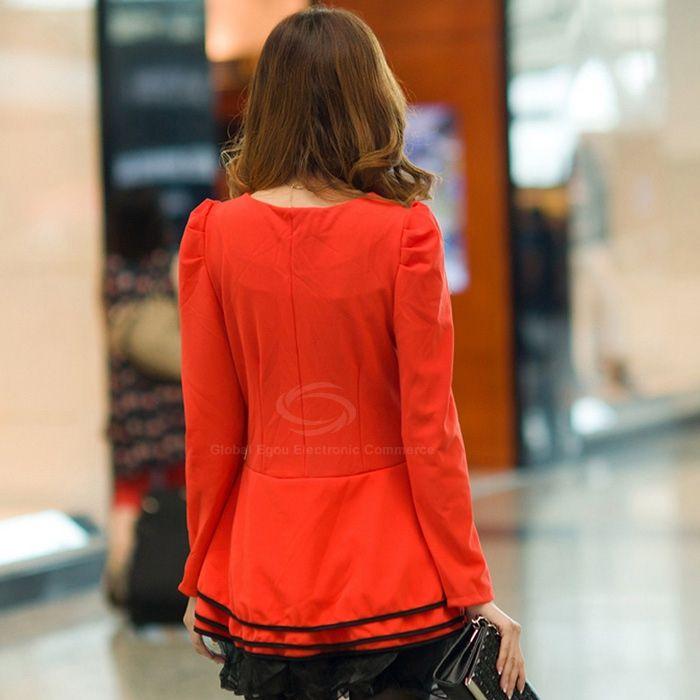 Stylish Scoop Neck Sweet Splicing Design Blocking Color Puff Sleeves Acrylic Fibers Women's Dress