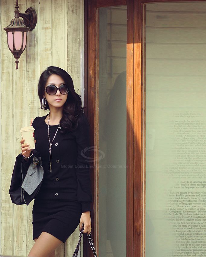 Casual Scoop Neck Long Sleeves Solid Color Bodycon Buttons Decoration Cotton Blend Women's Dress