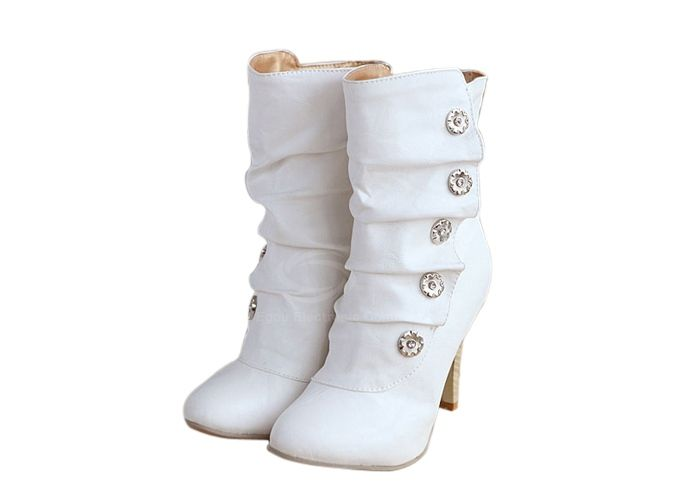 Casual Metal and Pleated Design Women's Short Boots