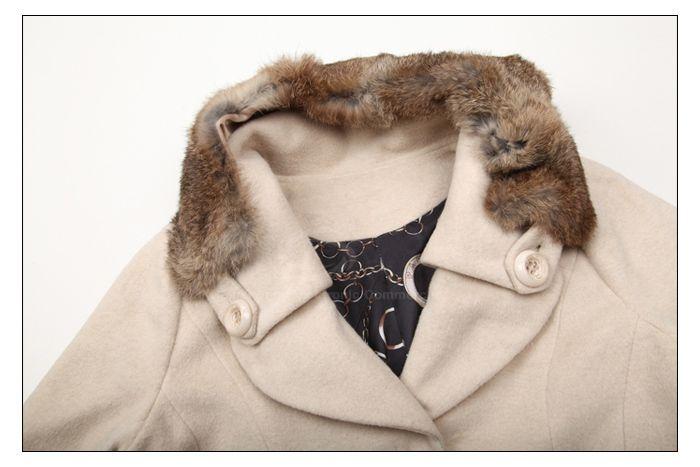 Modern Style Fur Lapel Embellished Long Sleeve Worsted Women's Long Coat
