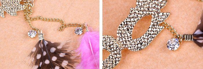 Feather Embellished Rhinestoned Mask Shape Pendant Sweater Chain Necklace