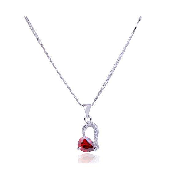 Gorgeous Elegant Style Rhinestone Embellished Heart Shape Women's Necklace