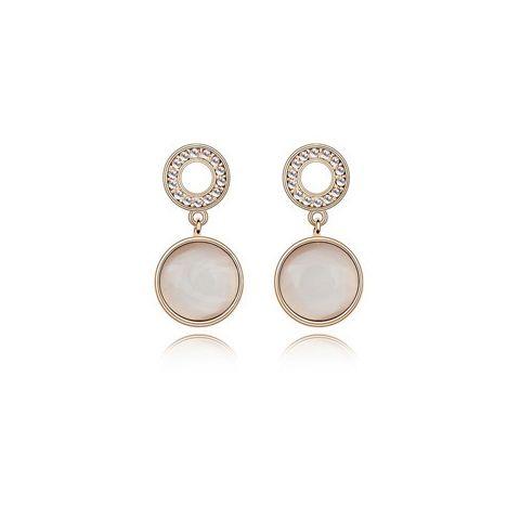 Pair of Vintage Rhinestone Inlaid Round Shape Earrings
