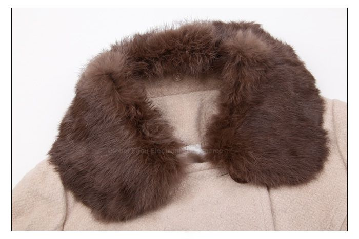 Casual Polo Neck Faux Fur Collar Long Sleeves Double Breasted Big Hem Woolen Blend Women's Coat
