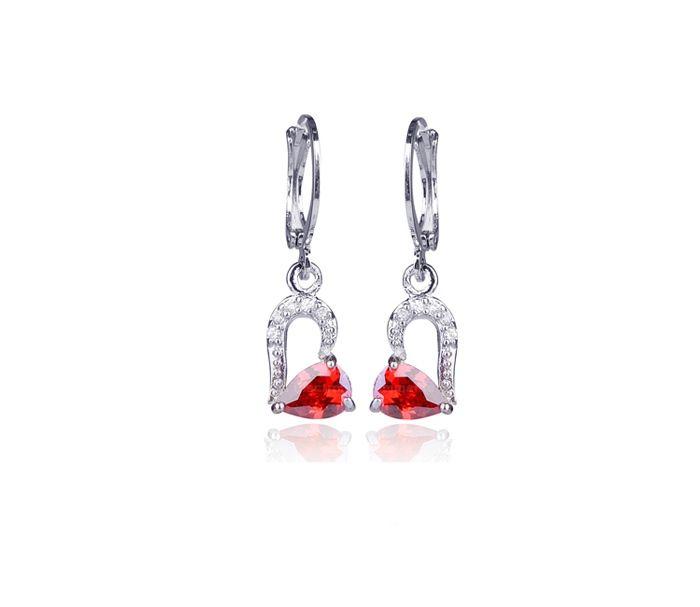 Chic Sweet Rhinestone Embellished Heart Shape Women's Drop Earrings