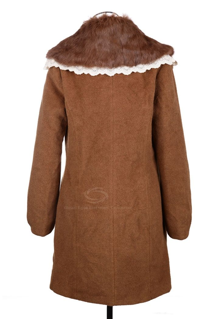Modern Style Fur Collar Embellished Long Sleeve Worsted Women's Coat