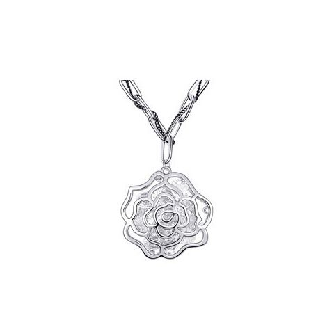 Gorgeous Graceful Style Openwork Rose Flower Shape Crystal Embellished Women's Necklace