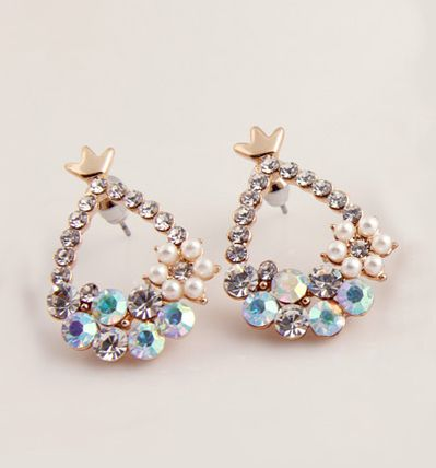 Pair of Gorgeous Sweet Style Water-Drop Shape Rhinestone Embellished Women's Stud Earrings